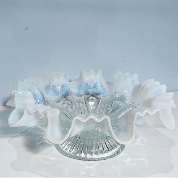 Vintage Bowl Opalescent Clear White Ruffled